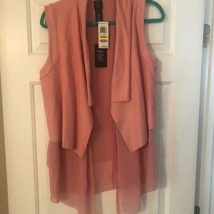 Faux suede baby pink vest